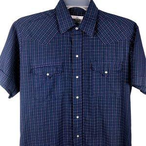 Panhandle Slim Western Shirt Pearl Snap Blue Men L